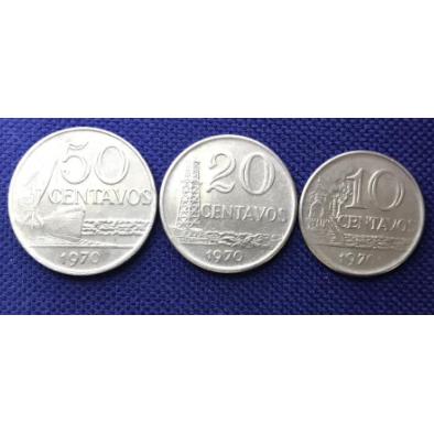 Sequência 50,20 e 10 centavos 1970 SOB