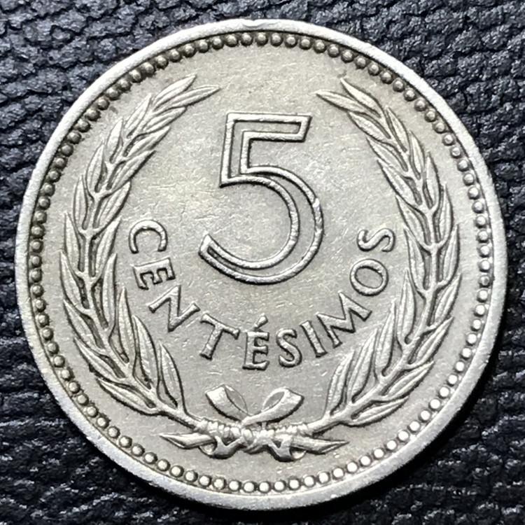 Uruguai 5 centesimos peso 1953 SOB