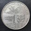 Portugal 100 escudos PRATA 1990 SOB